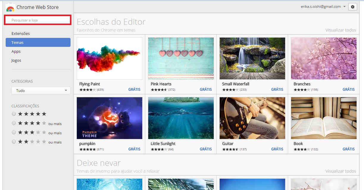 Opções de temas Google Chrome