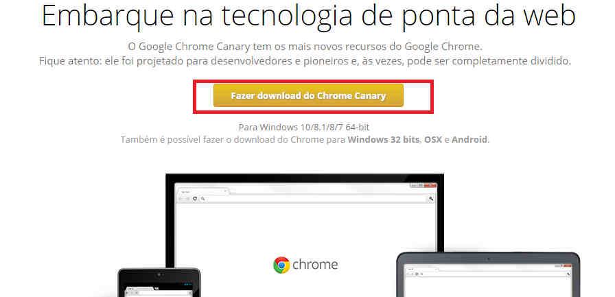 Como baixar Google Chrome Canary