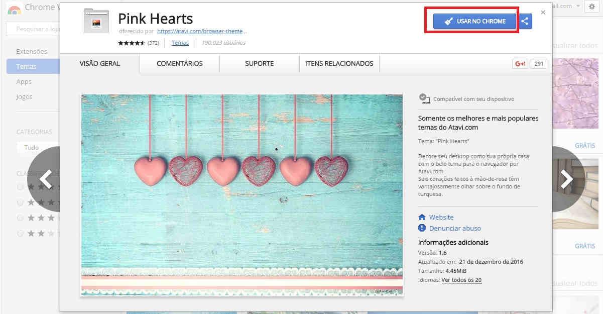 Trocando os temas Google Chrome